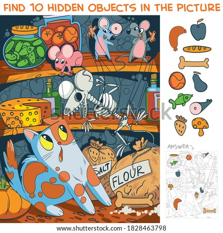 Mice scare a cat with a toy skeleton. Find 10 hidden objects in the picture. Puzzle Hidden Items. Funny cartoon character Royalty-Free Stock Photo #1828463798