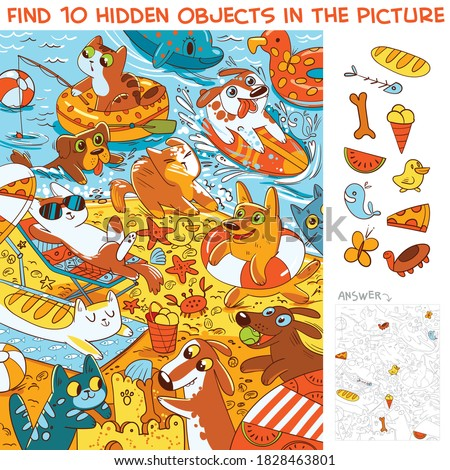 Pets on the beach. Find 10 hidden objects in the picture. Puzzle Hidden Items. Funny cartoon character Royalty-Free Stock Photo #1828463801