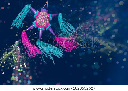 mexican pinata for posada and birthday celebrations blue background