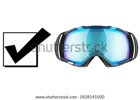 Ski Goggles Isolated on White Background. Front View of Blue Safety Ski Glasses. Modern Snowboard Goggles. Snowboarding Protective Eyewear Gear. Sport Equipment Royalty-Free Stock Photo #1828541000