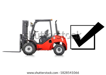 Red Rough Terrain Forklift Truck Isolated on White Background. Side View of Vertical Masted Forklift Truck. Industrial Vehicle. Pneumatic Truck. Diesel Counterbalance Truck. Warehouse Equipment #1828541066