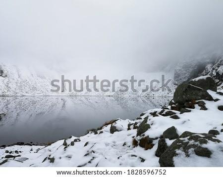 Black rocks and white fog make a perfect natural black and white picture. Czarny Staw Pod Rysami Lake, High Tatras, Poland.
