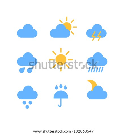 Weather forecast color web icons collection  #182863547