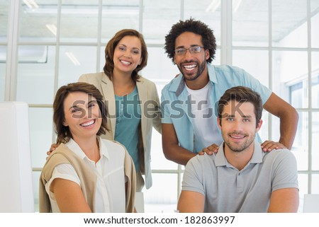 Group portrait of happy young business people in the office #182863997