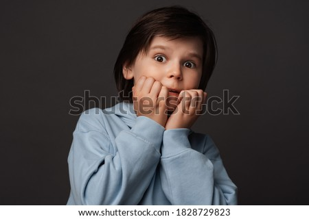 I'm afraid. Image of scared boy 10-12 years old in casual clothes covering his mouth with hands. Fright, phobia, panic attack, horror and facial expression concept. Studio shot, gray background Royalty-Free Stock Photo #1828729823