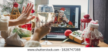 Christmas online holiday remote celebration X mas new year in lockdown coronavirus quarantine covid 19 new normal, social distance, remote communication, stay home vocation, Christmas party online Royalty-Free Stock Photo #1828747388