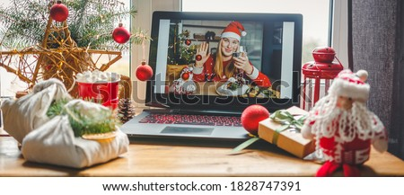 Christmas online holiday remote celebration X mas new year in lockdown coronavirus quarantine covid 19 new normal, social distance, remote communication, stay home vocation, Christmas party online #1828747391