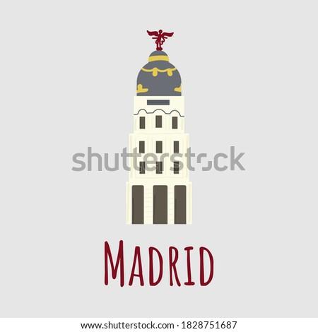 Cartoon vector illstration of Building Edificio Metropolis isolated on grey background. Lettering Madrid Royalty-Free Stock Photo #1828751687