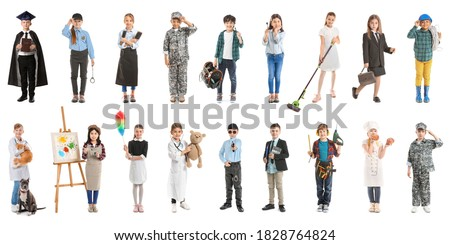 Collage with little children in uniforms of different professions on white background Royalty-Free Stock Photo #1828764824