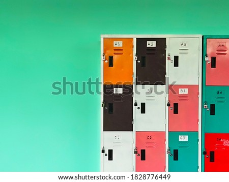 Lockers with lots of beautiful colors on the walls Royalty-Free Stock Photo #1828776449