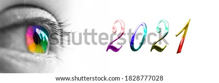 2021 and colorful rainbow eye on panoramic white background, 2021 new year greetings Royalty-Free Stock Photo #1828777028