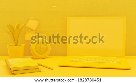 Minimal concept, Laptop on table Work desk yellow color and mock-up for your text.  3d render.