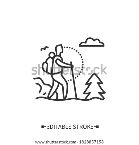 Trekking line icon. Adventure tourism. Mountain tourism. Backpacking. Long distance walking trip with camping stops. Mount climbing.Tourism types concept. Isolated vector illustration.Editable stroke  #1828857158