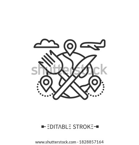 Food tour line icon. Culinary, cooking tourism to explore new food destinations. Gastronomic tour. Local cuisine. Tourism types concept. Isolated vector illustration. Editable stroke  Royalty-Free Stock Photo #1828857164