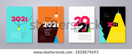 Set of 2021 Happy New Year posters. Creativity inspiration concepts with lightbulb on color background. Business solution,planning ideas. Glowing contents. Minimalist backgrounds for branding, banner. #1828874693