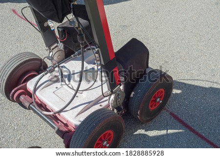 The GPR is a noninvasive method used in geophysics. It is based on the analysis of electromagnetic waves transmitted into the ground reflections. Royalty-Free Stock Photo #1828885928