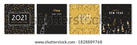 Happy New Year- 2021 . Collection of greeting background designs, New Year, social media promotional content. Vector illustration #1828889768