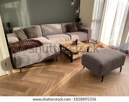 Herringbone PVC flooring with decoration Royalty-Free Stock Photo #1828895336