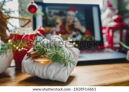 Christmas online holiday remote celebration X mas new year in lockdown coronavirus quarantine covid 19 new normal, social distance, remote communication, stay home vocation, selective focus #1828916861