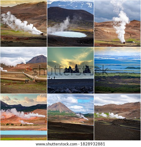 Iceland, collage of nine beautiful nature pictures