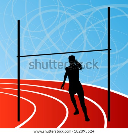 High jump athletics active woman girl sport silhouette concept illustration background vector #182895524
