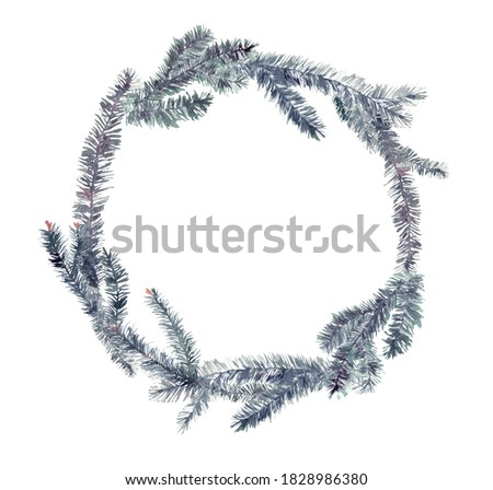 New Year's round wreath of Christmas tree branches. Watercolor clip-art. Decoration isolated on white background.