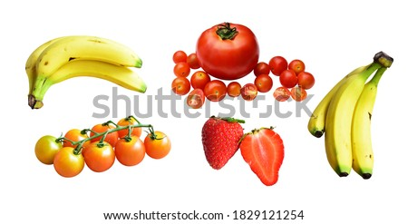 Healthy fruits with clipping path, no shadow, yellow bananas bunch isolated, strawberries slices/pieces, red tomatoes, bunch of cherry tomatoes, tropical in white background