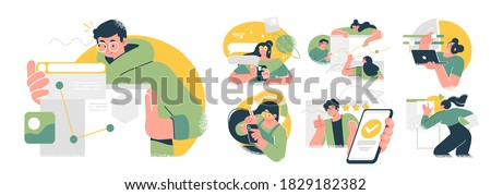 Business Concept illustrations. Collection of scenes with men and women taking part in business activities. Trendy vector style. #1829182382