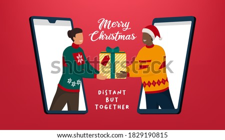 People video calling and sharing Christmas gifts online, coronavirus prevention and safe Christmas celebration online Royalty-Free Stock Photo #1829190815