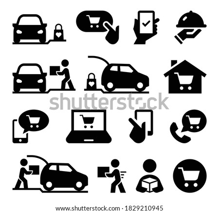 Online Shopping Curbside Pickup Icon Set