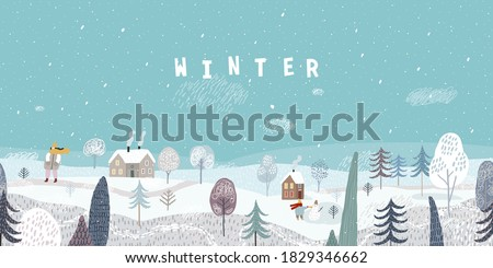 Cute winter landscape. Winter banner. Winter walk. Lovely houses in a snowy valley. Horizontal seamless landscape. Royalty-Free Stock Photo #1829346662
