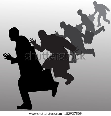 Vector silhouette of businessman on a gray background. #182937509