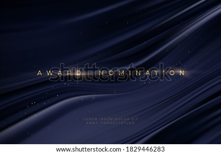 Awarding the nomination ceremony luxury black wavy background with golden glitter sparkles. Vector background EPS10 #1829446283