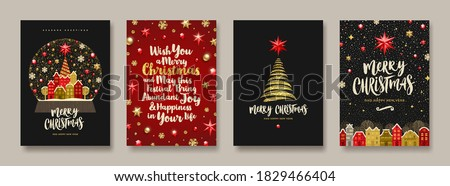 Set of Christmas and New Year greeting card.  Background with Christmas tree and decor. Vector illustration. Holiday design for greeting card, invitation, cover, calendar, etc. Royalty-Free Stock Photo #1829466404