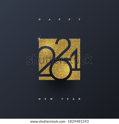 2021 new year logo. Greeting design with glitter gold  number of year. Design for greeting card, invitation, calendar, etc. #1829481593