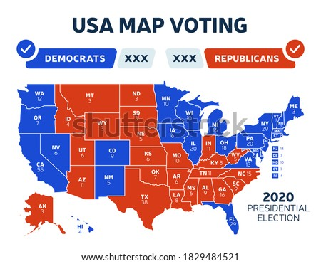 USA Presidential election results map. Usa map voting. Presidential election each state american electoral votes showing republicans or democrats political vector infographic #1829484521