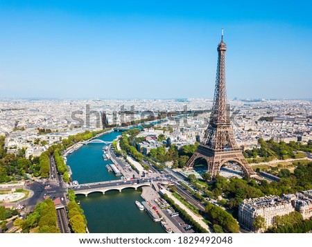 Eiffel Tower or Tour Eiffel aerial view, is a wrought iron lattice tower on the Champ de Mars in Paris, France Royalty-Free Stock Photo #1829492048
