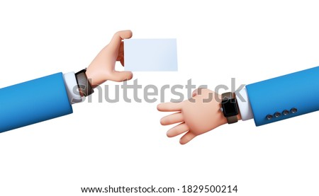 3d render, cartoon characters hands hold business card blank mockup, office meeting, clip art isolated on white background