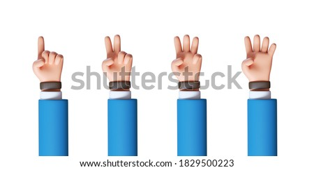 3d render, cartoon character hand shows fingers, counting from one to four, business clip art collection isolated on white background