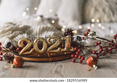 Happy New Years 2021. Christmas background with fir tree, cones and Christmas decorations. Christmas holiday celebration. New Year concept. #1829556989