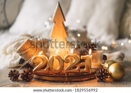 Happy New Years 2021. Christmas background with fir tree, cones and Christmas decorations. Christmas holiday celebration. New Year concept. #1829556992