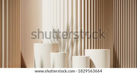 Minimal abstract background for branding and product presentation. Sunshade shadow on beige corrugated panel background. 3d rendering illustration. Clipping path of each element included.