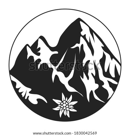 Icon Of The Alps. Snow-capped mountains in a circle with an Edelweiss flower. Vector illustration isolated on a white background in a simple flat style for design and web. Royalty-Free Stock Photo #1830042569