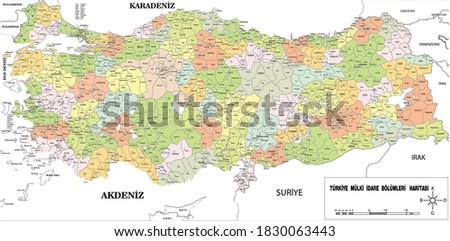 Divided into provinces and districts as a detailed map of Turkey   Royalty-Free Stock Photo #1830063443