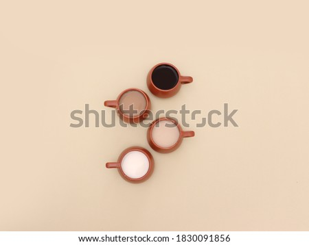 Different shades of coffee with milk, top view coffee gradient on beige background #1830091856