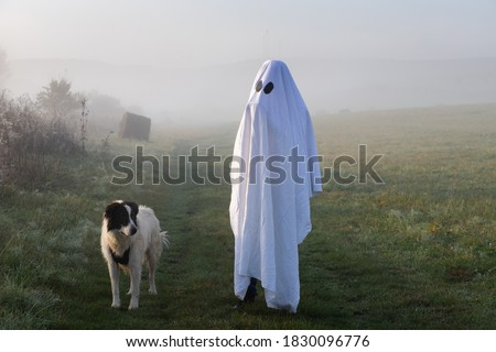 halloween ghost with dog in foggy landscape