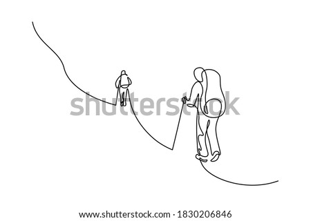 Mountain climbers in continuous line art drawing style. Two backpackers ascending mountain. Hiking and mountaineering. Black linear sketch isolated on white background. Vector illustration