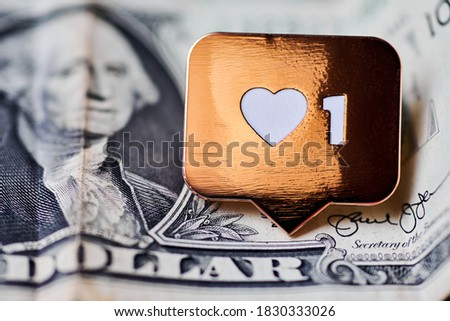 Like heart symbol on dollar. Like sign button, symbol with heart and one digit. Buy followers for social media network marketing. Cheap price concept.
