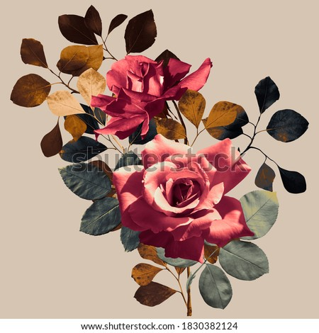 floral print, bouquet of roses and autumn leaves, square format, light brown background Royalty-Free Stock Photo #1830382124