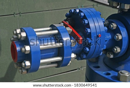 Pipeline fasteners with steel nuts and studs Royalty-Free Stock Photo #1830649541